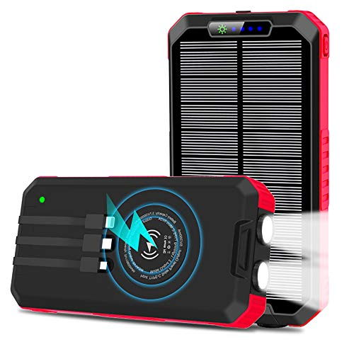 Solar Charger 30000mAh Wireless Portable Solar Power Bank Fast Charge Solar Phone Charger Power Bank with 3 Cables & LED Flashlights(Waterproof, Dustproof), Compatible with iOS &Android