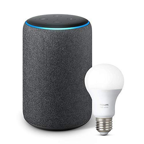 Echo Plus (2nd Gen) with Philips Hue Bulb - Alexa smart home starter kit - Charcoal