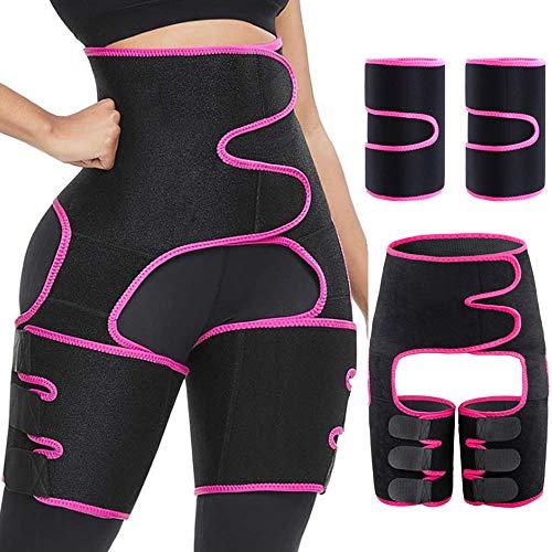 JJunLiM Upgrade Waist Trainer 3 in 1 Coscia Trimmer con Butt Lifter Body Shaper Cintura per Braccio per Supporto alla Vita Allenamento Fascia per Il Sudore per Donna Shapewear (Rosa S/M)