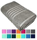Lashuma Toalla de baño XXL, toalla de playa Londres en 14 colores, toalla de playa grande, tamaño: 100 x 150 cm 100 x 150 cm Piedra gris.