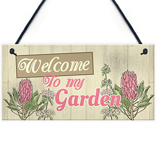 RED OCEAN Wall Plaque Welcome To My Garden Home Shed Sign Gifts for Nan Birthday Friendship Gifts