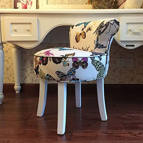 YZJJ Vintage Makeup Seat, taboret wanity, nowoczesny taboret do makijażu, barokowe krzesło pianina, krzesła i taboret, wyściełana ławka z nogami z litego drewna, do garderoby / salonu/sypialni
