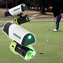 GREENON Laser Coach Putting - Golf Putter Practice Training Aid - Shines Bright Green Laser Light to Guide & Improve Your Putting - Attach to Any Putter - Rechargeable - Indoors Outdoors Office Home