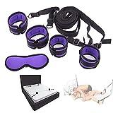 Ensemble de poignets de chambre à coucher Stráps attachés au lit, Couple Toy Cosplay (Violet)