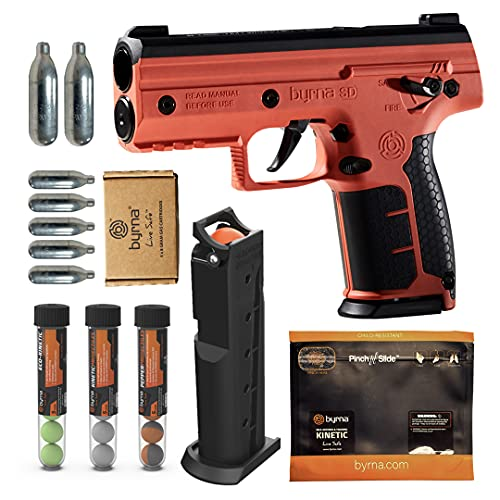 Byrna SD [Self Defense] Pepper Launcher Ultimate Bundle - Non Lethal, Less Lethal Pepper Launcher, Home Defense, Personal Defense (Orange) | Proudly Assembled in The USA