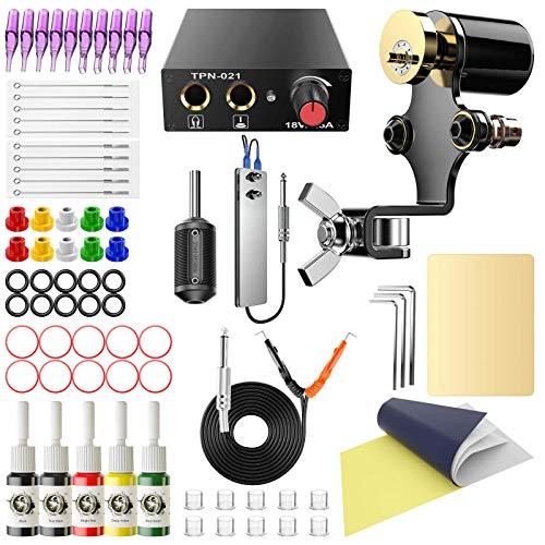 Wormhole Tattoo Kit Complete Tattoo Kit for Beginners Tattoo Power Supply Kit 1 Black Tattoo Ink 30 Tattoo Needles 1 Pro Tattoo Machine Guns Kit Tattoo Supplies SL-TK120-US