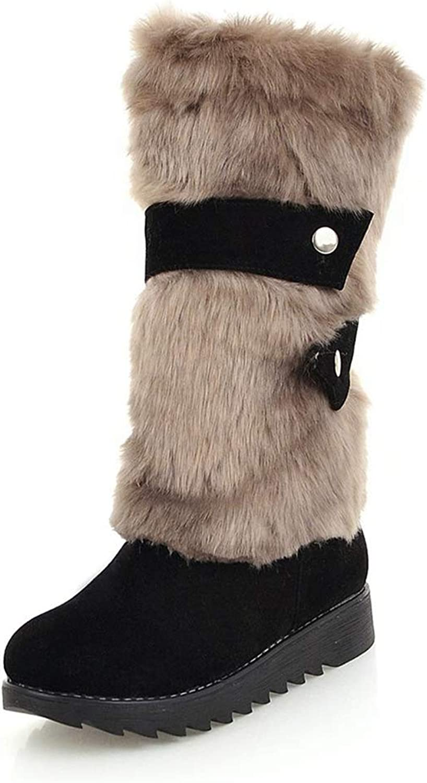 Hoxekle Winter Warm kvinnor kvinnor kvinnor skor kvinnor skor kvinna Retro Comfort Fur Värme kvinna Snow stövlar Round Toe Flat Mid Calf Boot  utlopp till salu
