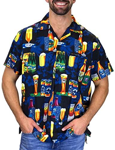 V.H.O. Funky Hawaiihemd, Kurzarm, Bierflaschen, schwarz, M
