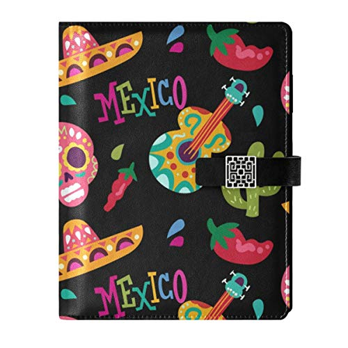 Leather Notebook Journal Diary Notepad Travel Dead Day Sugar Skull Guitar Refillable A5 Inner Filler Papers Ring Binder - Hardcover Notebook Gift for Men & Women