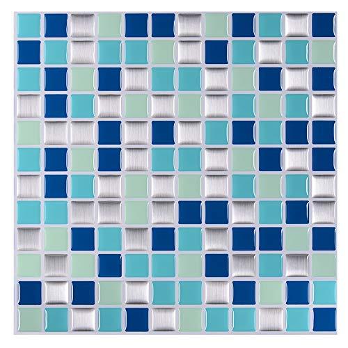 STICKGOO Pegatinas de azulejos autoadhesivos 3D, Decorativos Adhesivos para Azulejos Pegatina de Pared, Impermeable Azulejos de Gel, Diseño de Mosaico con Motivo, para Baño y Cocina (Azul mixto)