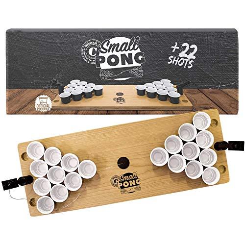 Offizieller Small Pong | Mini Beer Pong Tisch aus Holz | Premium Qualität | 1 Beer Pong Holzplatte | 2 Mini Werfer | 22 Shooter 4cl | Party-& Aperitif Spiel | House Party | OriginalCup®