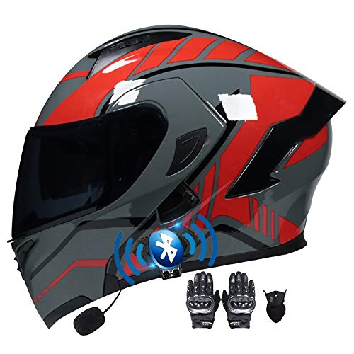 Casco Moto Modular Doble Visera Anti Niebla Cascos Scooter Guantes y Mascarilla Casco Motocicleta Bluetooth Incorporado ECE Aprobado para Hombre Mujer 55~60cm