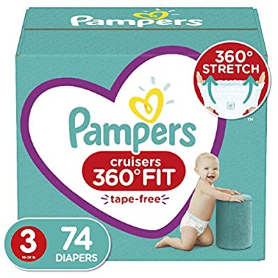 Diapers Size 3, 74 Count - Pampers Pull On Cruisers 360° Fit Disposable Baby Diapers with Stretchy Waistband, Super Pack (Packaging May Vary)