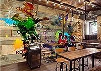 カスタムサイズの音楽ファッショントレンド3Dステレオレンガ壁落書きギターバーKTV壁画背景壁壁紙 500x320CM