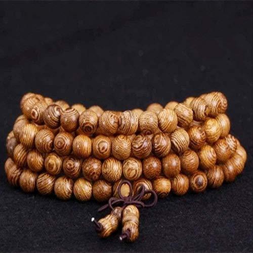 TYWZH Collar de Cuentas de oración Pulseras para Hombres Budista Tibetano Mala Buda Collar Pulsera 8Mm 108 Rosario Brazalete de Madera joyería de Mujer