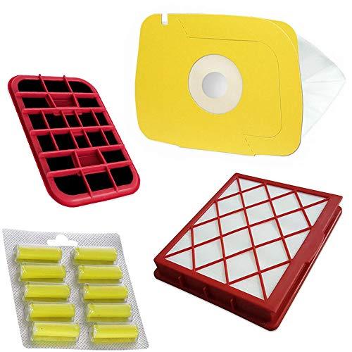 TOP SET - 10 Bolsas de aspiradora de papel + filtro HEPA + filtro de carbón + 10 ambientadores adecuados para Electrolux LUX 1, Lux1, D820, Classic, Royal, Lux D 820 Royal