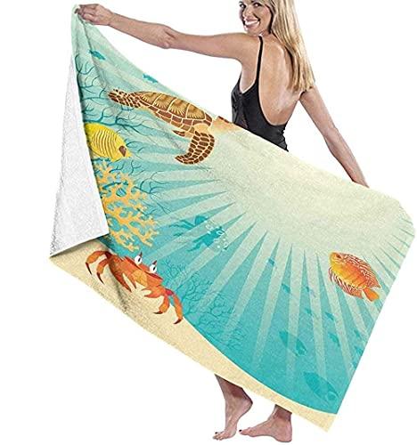 Telo Mare Grande 130 ×80cm, Pesce Granchio Tartaruga Marina,Asciugamano da Spiaggia in Microfibra Asciugatura Rapida,Ultra Morbido,Uomo,Donna,Bambina