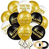 45 Pieces 12 Inch Funny Coworker Going Away Last Day Office Party Balloons, White and Gold Black Retirement Latex Balloon Farewell Balloon with 2 Ribbon Decors for Colleague Going Away Party Supplies