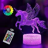 Veilleuse Licorne 3D pour Enfants, Fille Lampe LED USB Veilleuse Illusion, 16 Couleurs Changeantes...