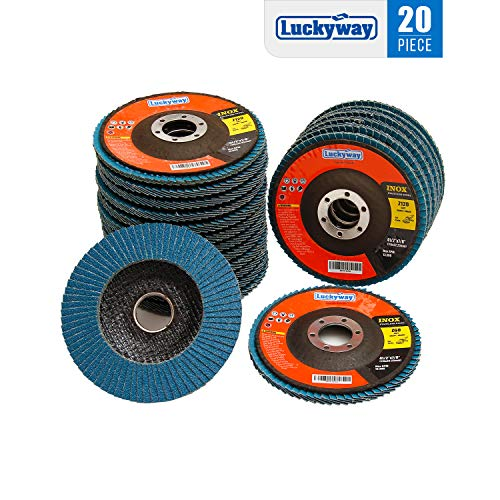 Luckyway 20-Piece 4-1/2 x 7/8 Inch T29 Zirconia Abrasive Grinding Wheel Flap Disc, Including 40/60/80/120 Grits