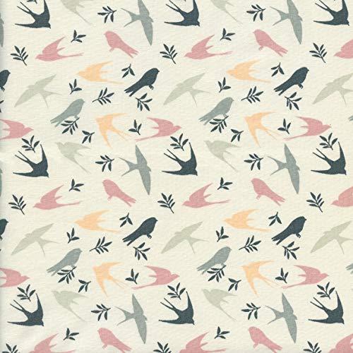 Textiles français Tela Aves - Las Golondrinas (Rosa Antiguo, Antracita, Gris, melocotón & Menta pálida sobre un Fondo Blanco Crema) | 100% algodón Suave | Ancho: 140 cm (por Metro Lineal)*