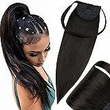 Hetto 20 Pulgada Afro Kinky Extensiones de Cabello Humano Recto Colena Natural Black Long Ponytail Clips on Hairpiece Smoothy Human Hair Clips 100g Cada Paquete