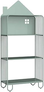 AVOA Bibliothèque en fer forgé avec étagères ouvertes, meuble de rangement et vitrine, pour salon, bureau (couleur : vert,...