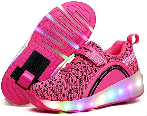 qmj Rollschuhe Schuhe MitRollen Mädchen Jungen RollerSchuhe Rollschuhe Kinder Radschuhe Rollschuhe Sneakers Schuhe Mit Doppelrädern Für Kinder LED-Licht,Pink-12 UK Child