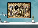 Póster hippie Girl Be Strong Be Brave Be Humble Be Badass Everyday Poster Hippie Póster Vintage Art Wall Art Gitano Bonito Letrero decorativo de pared Cartel de metal 8 x 12 pulgadas