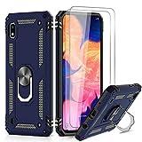 LeYi für Samsung Galaxy A10/Galaxy M10 Hülle mit Panzerglas Schutzfolie(2 Stück),360 Grad Ring Halter Handy Hüllen Cover Magnetische Bumper Schutzhülle für Hülle Samsung Galaxy A10 Handyhülle Blau