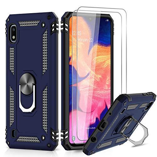 LeYi für Samsung Galaxy A10/Galaxy M10 Hülle mit Panzerglas Schutzfolie(2 Stück),360 Grad Ring Halter Handy Hüllen Cover Bumper Schutzhülle für Hülle Samsung Galaxy A10 Handyhülle Blau