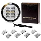 Vassoul Dual Magnetic Eyelashes, Natural Half Lash, 0.2mm Ultra Thin Magnet, Light weight Reusable 3D Eyelashes with Applicator
