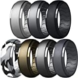 Dookeh Breathable Mens Silicone Wedding Rings, Rubber Ring Bands For Men, Black Blue Camo Engagement Band, Best for Workout, 1-4-7 Pack (Z-Steel,Iron,Black,Smoke Camo,Bronze,Titanium,Dgray, 10)