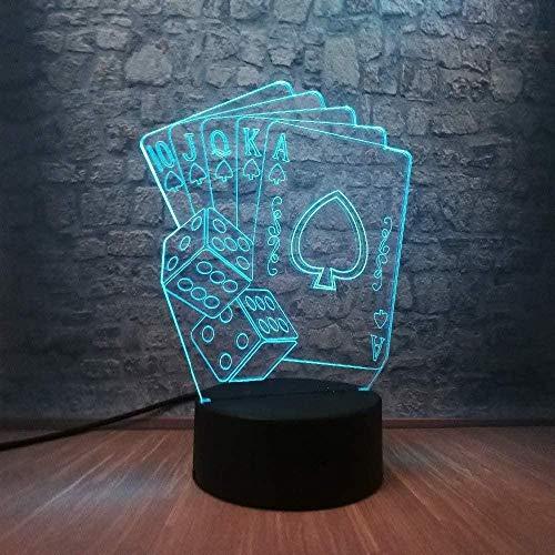 3D Nachtlicht Nachtlampe Kreative Magier Würfel Poker Spaten Spielkarte RC Weihnachten Beste Geschenke USB Mädchen Jungen Geburtstag Halloween Kinder Familie Freunde Dekor 7 Farben LED Touch ändern
