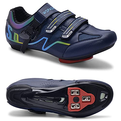Indoor Cycling Shoes Compatible with Peloton Bike Road Biking Shoes Men's Bicycle Outdoor Riding Spin Shoes with Cleats Look Delta for Men and Women SPD Clip On Spining (Navy, M5.5)