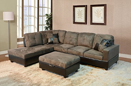 Golden Coast Furniture 2 PC L Shape Sectional Sets Including Ottoman (with Multiple Colors) (Right Hand Facing, Taupe)