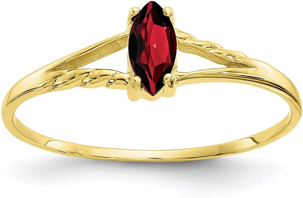 10k Yellow Gold Red Garnet Birthstone Band Ring Size 7.00 Stone January Marquise Fine Jewelry For Women Gifts For Her