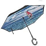 Mike-Shop Paraguas invertido Plegable Ride The Wave Quote con Ocean Horizon Graphic Art Canopy Gasolina