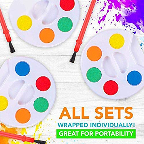 HOWBOUTDIS (24) Piece Paint Set - Party Favors - Craft Supply - Includes (5) Water Colors and a Brush - Great for Beginning Artists and Day Cares