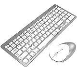 INPHIC Combo de Teclado y ratón inalámbrico Bluetooth Ultra-Delgado, Compatible con iPad 10.2/9.7, iPad Air 10.5, iPad Pro 11/12.9, iPad Mini 5/4, iPhone y Otros Dispositivos con Bluetooth, Blanco