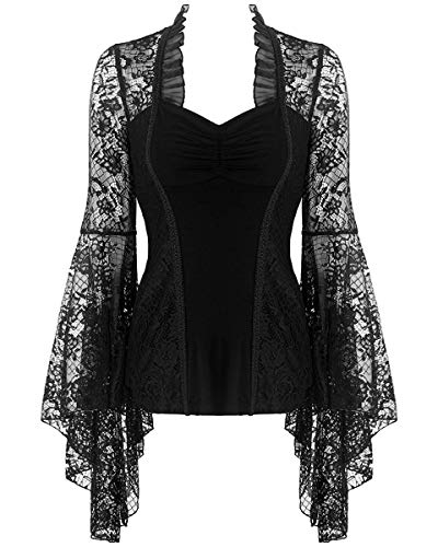 Dark In Love Top gothique à manches en dentelle florale pour femme Noir - Noir - S-M