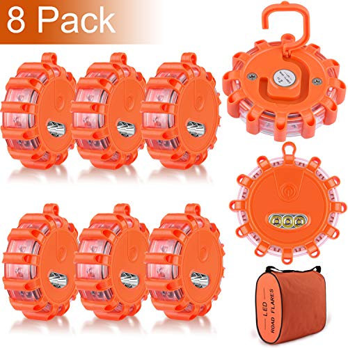 8 Pack LED Road Flares Emergency Beacon Safety Flare Flashing Warning Light for Car Truck Boat with Hook and Magnetic Base, 9 Flash Modes (Batteries Not Included) (8)
