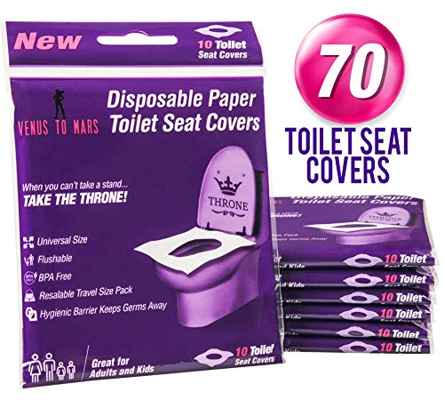 Venus To Mars Disposable Toilet Seat Covers – 70 Flushable Toilet Seat Covers for Kids, Toddlers and Adults for Use During Travel, Potty Training and Many More (7 Resealable Packs of 10)