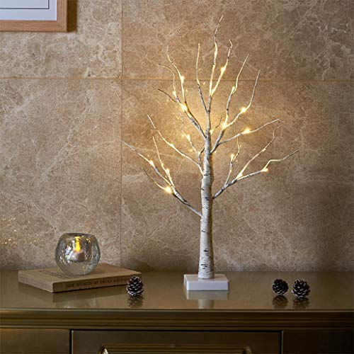 EAMBRITE White Christmas Tree with Lights Mini Birch Twig Tree Ornament with 24 Warm White LEDs Battery Operated Tabletop Decoration for Christmas Home Party Wedding (60cm/2ft)