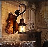 AKBOY Apliques en Forma de Vela Industrial Iluminación Apliques de Pared Vintage Metal Lampara Rustica Retro Lámpara Madera Maciza de Pared para la Salon, Cocina, Desván, Restaurante, Cafe, Bar,A