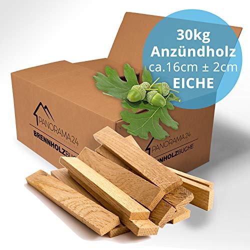30kg Anzündholz Anfeuerholz Anmachholz Brennholz Kaminholz Ofenholz Smoker Grill BBQ Trocken Ofenfertig EICHE 16cm