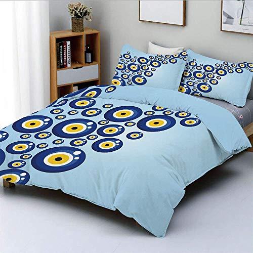 Conjunto de funda nórdica, patrón de mal de ojo diagonal Símbolo de protección animado Conjunto de ropa de cama de 3 piezas Cultural Cultural de Turquía con 2 fundas de almohada, azul claro azul amari