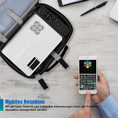 FunLites Video Projektor Full HD, Portable Mini Beamer, Native 1280x720P unterstützt 1080P, HDMI VGA AV USB kompatibel, Schwarzweiß - 4