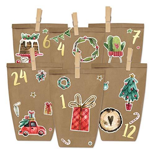 Papierdrachen Fai da Te Calendario dell'Avvento - Acquerello per attaccare - con 24 Sacchetti di Carta per Il riempimento - Natale e l'Avvento 2019