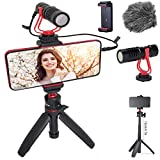 HAFOKO Smartphone Video Kit Vlogging Vlog Kit Vlogger Accessorio Vlog Rig kit con Treppiede Estensibile MiNi Microfono Telefono Supporto compatibile per Fotocamera Telefono YouTube TikTok Living